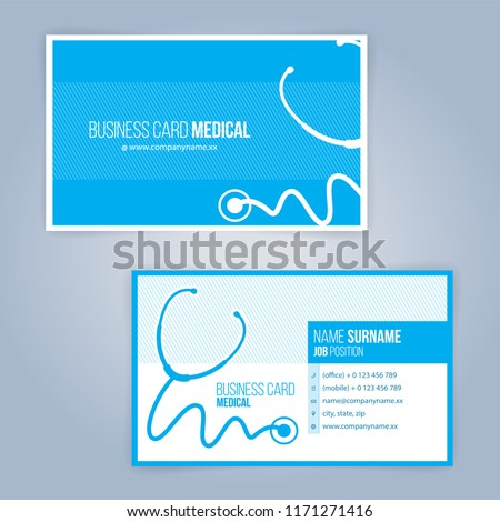 Medical or healthcare style business card design download vetores blue and white modern business healthcare medical card template illustration vector 10 reheart Images