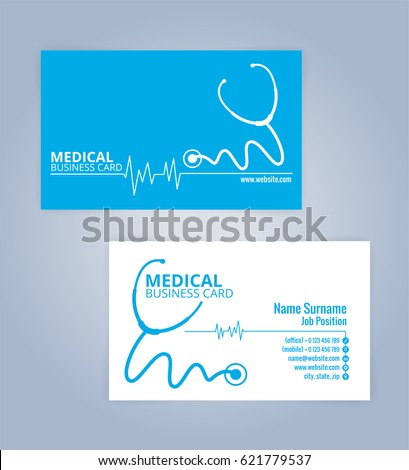 Blue and White modern business, healthcare, Medical card template, Illustration Vector 10