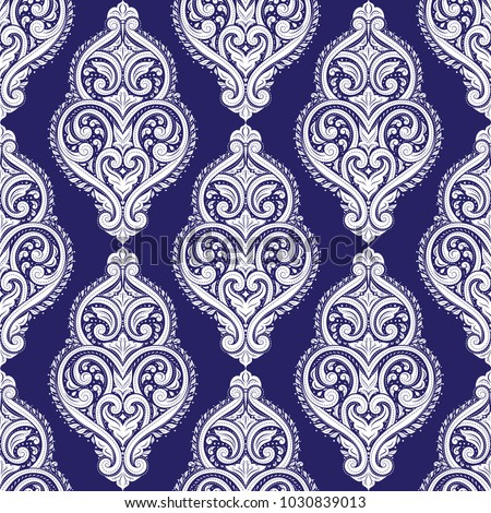 Blue and white ornamental seamless pattern. Vintage, paisley elements. Ornament. Traditional, Ethnic, Turkish, Indian motifs. Great for fabric and textile, wallpaper, packaging or any desired idea