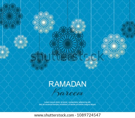 Blue and white Ramadan Kareem concept horizontal banner with islamic geometric patterns. Paper cut flowers traditional vector illustration. Ramadan Mubarak month of fasting for Muslims.