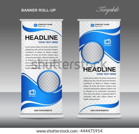 Blue and White Roll up banner stand template vintage vector layout, advertisement, display,flyer #444475954