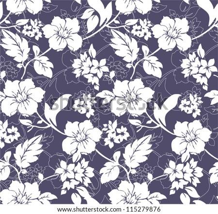 Blue Winter Floral Pattern Background