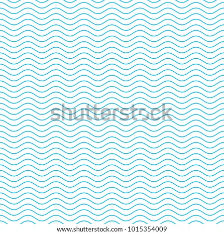 Blue and white seamless wave pattern. Linear waves background. Abstract geometric ornament. Sea or ocean texture. Vector illustration in flat style. EPS 10.