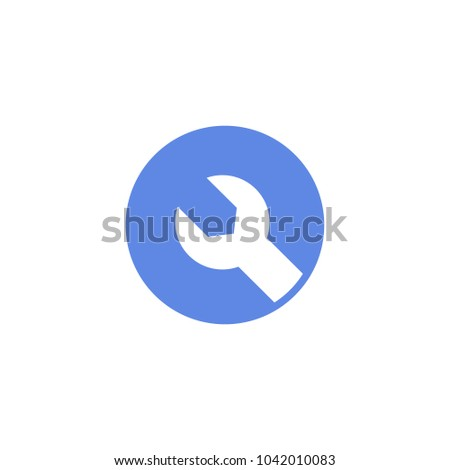 blue and white simple vector round flat art icon of wrench