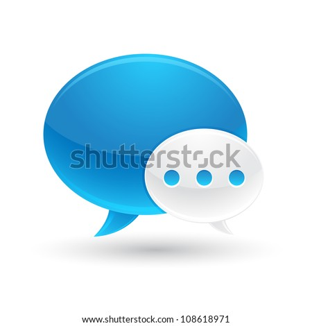 Blue and White Speech Bubbles Icon