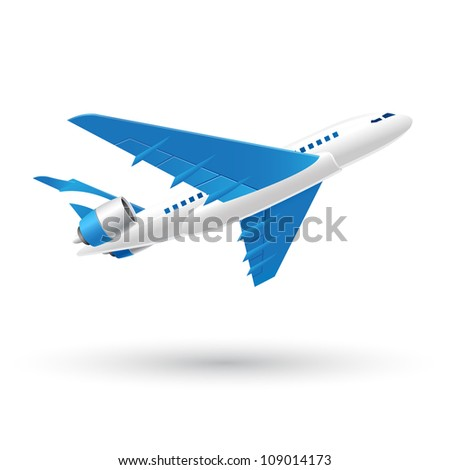 Blue and White Speed Airplane icon