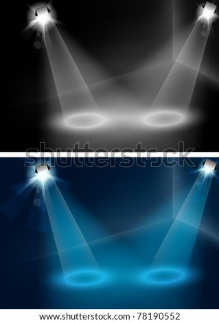 Blue and white spotlights vector, for your object