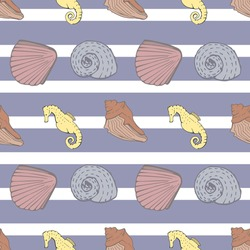 Blue and White Stripe Nautical seamless pattern background featuring seashells and seahorses. Modern geometric coastal pattern perfect for beach and Summer accessories, apparel and decor.