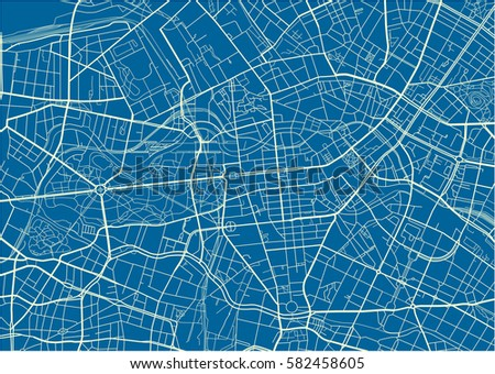 blue and white vector city map