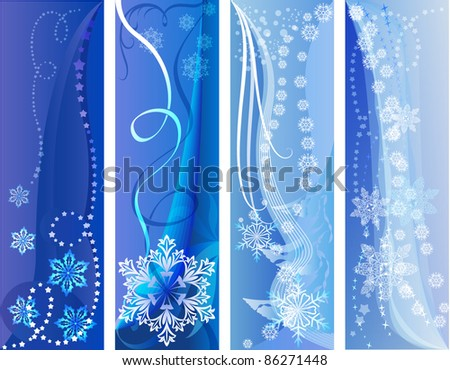 Blue and white winter vector banners.