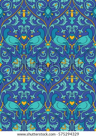Blue and yellow floral pattern. Seamless filigree ornament. Stylized template for wallpaper, textile, shawl, carpet and any surface. Colorful background with birds and flower.