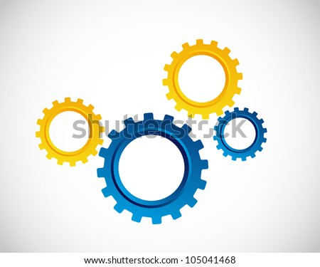 blue and yellow gears over gray background. vector illustration
