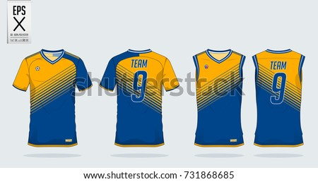 b2934f33b Blue and yellow t-shirt sport design template for soccer jersey