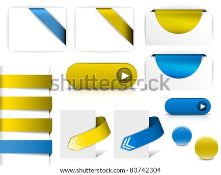 Blue and yellow vector elements for web pages - buttons, navigation, pointers, arrows, badges, ribbons