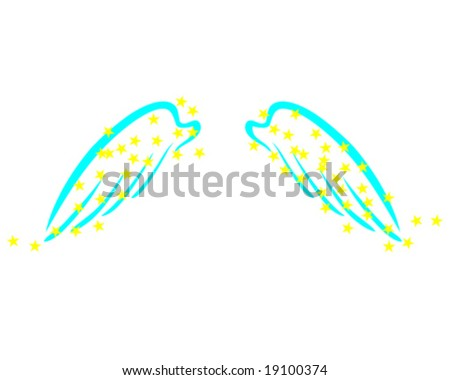 clip art angel wings. stock vector : blue angel
