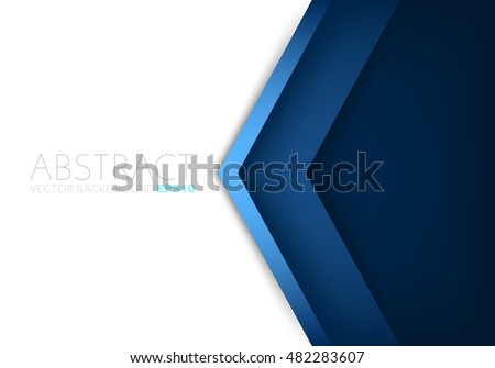 Blue angle arrow overlap vector background on white space for text and message artwork design