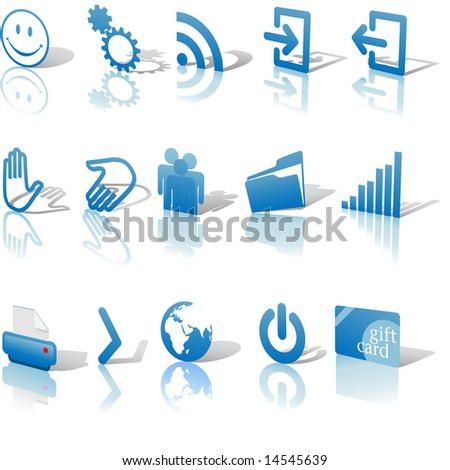 blue angled icon symbol set 2