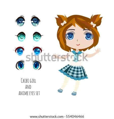 Stock Photo Blue anime eyes set with cute chibi girl