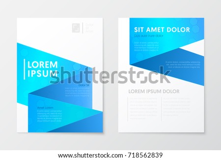 Blue Annual Report Business Brochure, Booklet, Cover Flyer Template. Corporate Design. Abstract Poster. Vector illustration