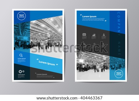 Blue annual report Leaflet Brochure Flyer template A4 size design, book cover layout design, Abstract presentation templates vector illustration