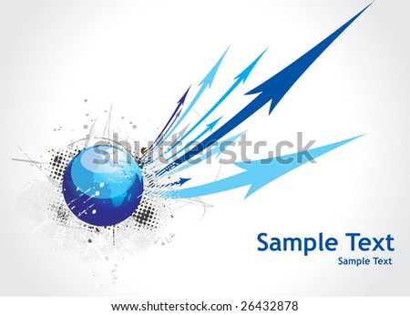 Blue arrow abstract background with grunge globe