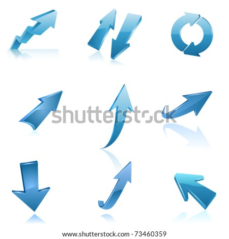Blue arrow icon set. Vector