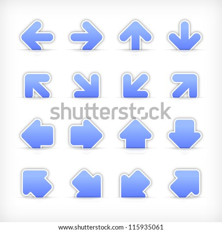 Blue arrow sign sticker on cut paper pocket . Web internet button clean satin shapes with gray drop shadow on white background. Vector illustration design element saved 10 eps