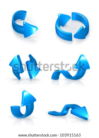 Blue arrows set, vector