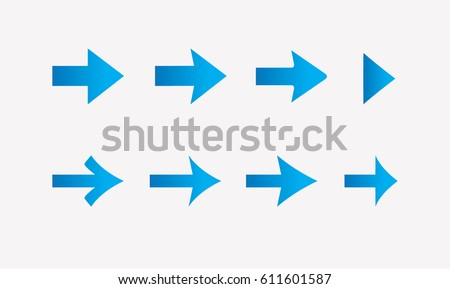 Blue arrows vector set on light background for you design