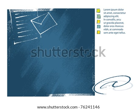 Blue artistic background design with a at-sign symbol (template, drawing, chalk technique, textured grunge vector)