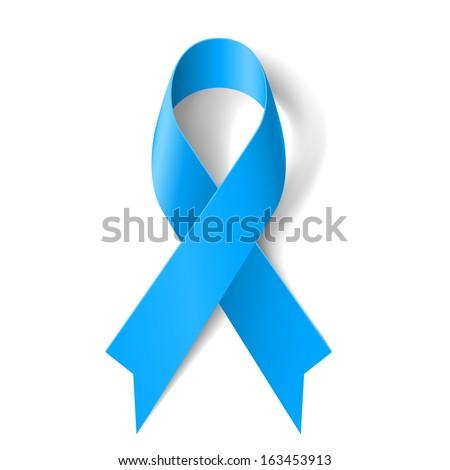 Blue awareness ribbon on white background. Disease symbol.