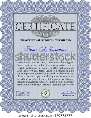 Blue Awesome Certificate template. Money Pattern. Award. With great quality guilloche pattern.