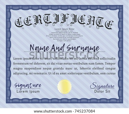 Blue Awesome Certificate Template. With Background. Money Pattern. Vector  Illustration.  Money Certificate Template