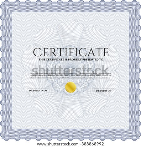 Blue Awesome Certificate template. With great quality guilloche pattern. Award. Money Pattern.