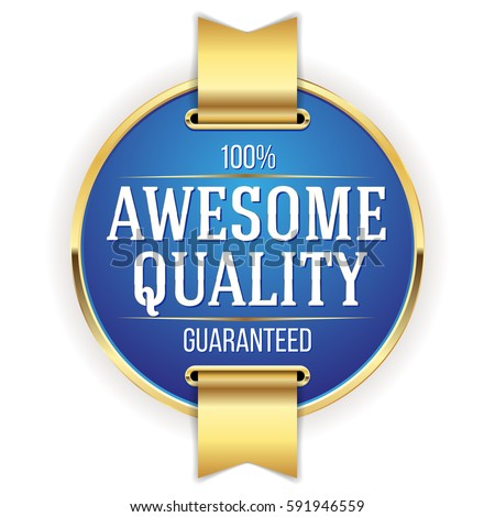 Blue awesome quality badge / button with gold border and ribbon