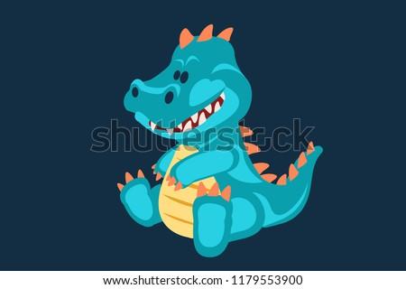 blue baby dinosaur toy cartoon