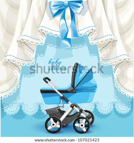 Blue baby shower card with baby carriage