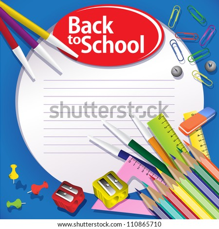 Blue Back to school background. Buttons, paper clips, pencils, rulers. Grouped for easy editing.