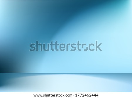 Blue background clean studio with spotlight in empty clean, Blue gradient empty room studio gradient used for background, Dark blue background with shine use for product shooting in clean background
