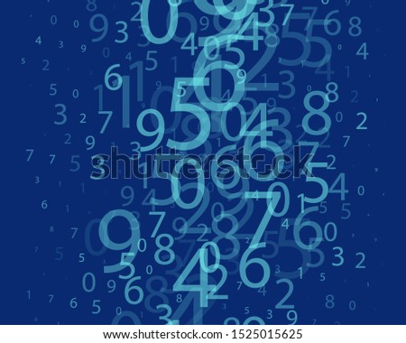 Blue Background in a matrix style. Binary code pattern with digits on screen. Falling Random numbers 0 and 9. Abstract digital backdrop. Vector illustration