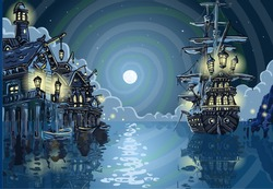Blue Background Nocturnal Pirate Island with Pirate Galleon Anchored in a Skull Bay Nocturnal View Blue Background. Pirate Cove Blue Background Insight Vector Illustration.