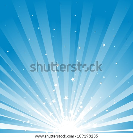 Blue background of stars and rays of light.