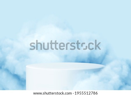 blue background with a product