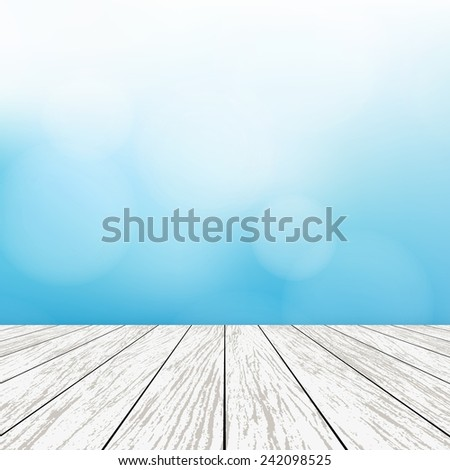 Blue background with bokeh and white wood planks floor background - Vector