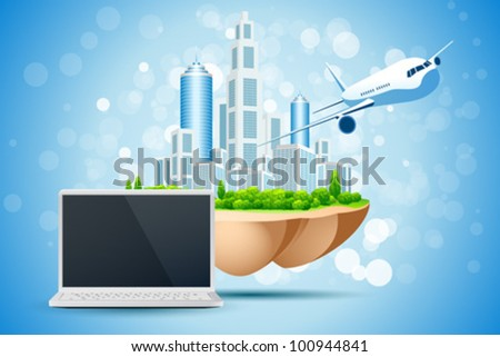 Blue Background with Business City Island Laptop and Aircraft - stock vector