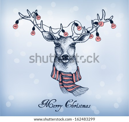 Blue Background With Christmas Santa Reindeer. Hand-Drawn ...
