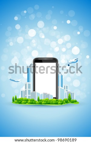 Blue Background with City Landscape airplane and Empty Phone Screen