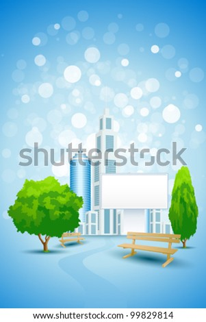 Blue Background with City Landscape Trees Benches and Empty Billboard