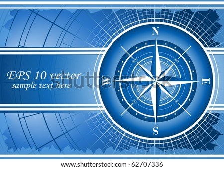 Blue background with compass rose. EPS 10 vector.