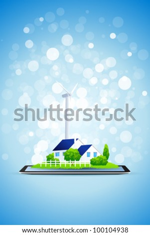 Blue Background  with Country House and Power Station on Tablet Computer